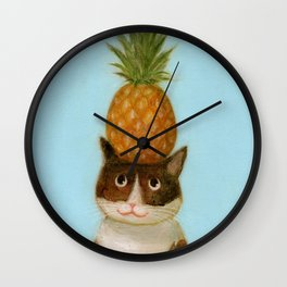 Pineapple Cat Wall Clock