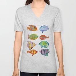Watercolor Colorful Tropical Fish Unisex V-Neck