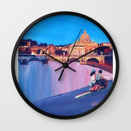 Rome Scene with Motorcycle and view of Vatican with Dome of St Peter Wall Clock