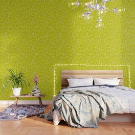 Lime Green Retro Geometric Pattern Wallpaper