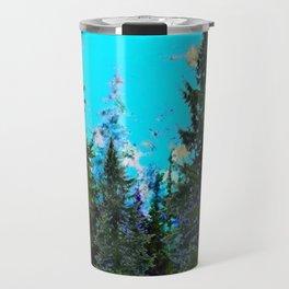 WESTERN PINE TREES LANDSCAPE IN BLUE Travel Mug