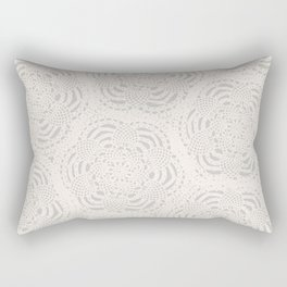 Cream on Taupe Antique Crocheted Lace Pineapples Doily Rectangular Pillow