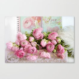 Shabby Chic Cottage Pink Floral Ranunculus Peonies Roses Print Home Decor Canvas Print
