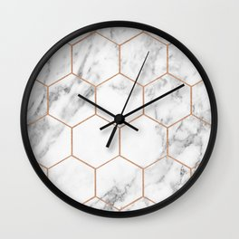 Rose gold marble hexagons honeycomb pattern Wall Clock
