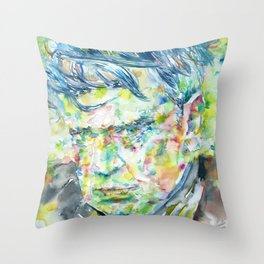 ANTHONY BURGESS - watercolor portrait Throw Pillow