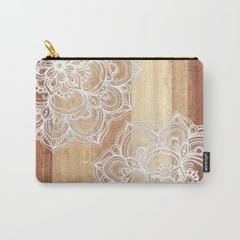 White doodles on blonde wood - neutral / nude colors Carry-All Pouch