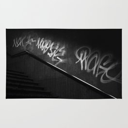 Street Graffiti in Black and White Rug