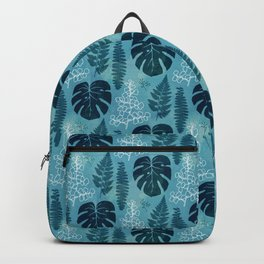 Turquoise tropical leaves Backpack