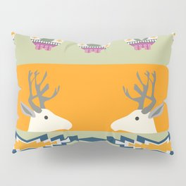 Colorful Christmas pattern with deer and bears Pillow Sham