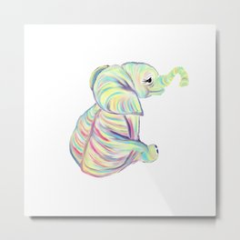 Colorful Baby Elephant In Bright Colors Metal Print