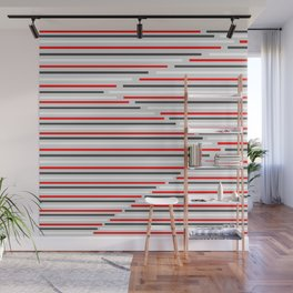Mixed Signals Abstract - Red, Gray, Black, White Wall Mural