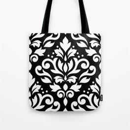Scroll Damask Large Pattern White on Black Tote Bag