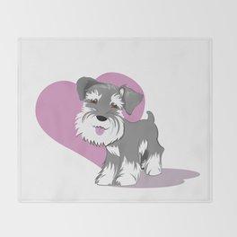Miniature Schnauzer Puppy Dog Adorable Baby Love Throw Blanket