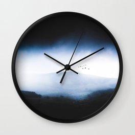 Misty Mountains Low Cloudy Sky Birds Landscape Wall Clock