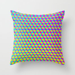 Colorful 3D Cubes Pattern Throw Pillow