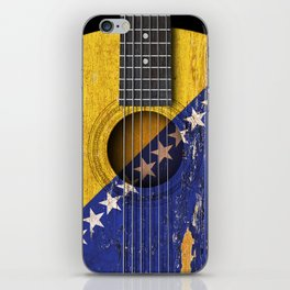 Old Vintage Acoustic Guitar with Bosnian Flag iPhone Skin