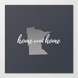 Minnesota Home Sweet Home Grey Canvas Print