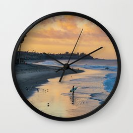 Sunrise Surfer in San Clemente Wall Clock