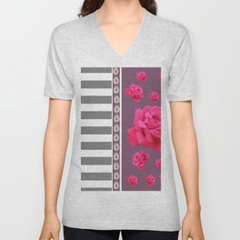 MODERN  PINK ROSES ON PUCE COLOR ART Unisex V-Neck