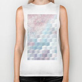 Distressed Cube Pattern - Pink and blue Biker Tank