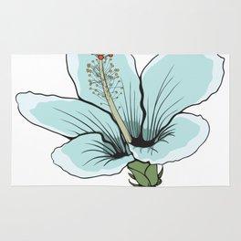 Hawaiin Blue Hibiscus Flower Rug