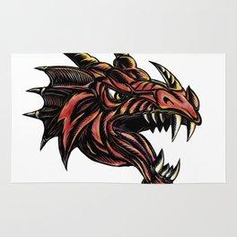 Angry Dragon Head Scratchboard Rug