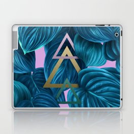 tropical turquoise leaves pattern Laptop & iPad Skin