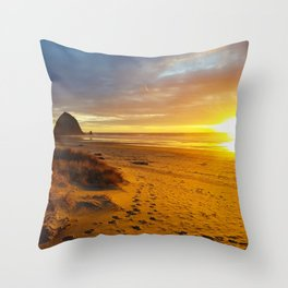 Cannon Beach Oregon at Sunset Haystack Rock Throw Pillow