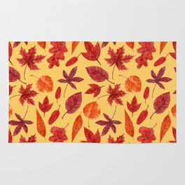 Red autumn leaves watercolor Rug