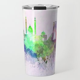 Tehran skyline in watercolor background Travel Mug