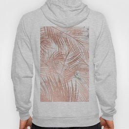 Tropical modern faux rose gold palm tree leaf white marble pattern Hoody