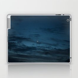 Morning Moonrise: Crescent in the Clouds Laptop & iPad Skin