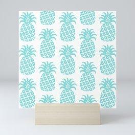 Retro Mid Century Modern Pineapple Pattern 731 Turquoise Mini Art Print
