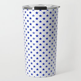 Cobalt Blue Star Pattern on White Travel Mug