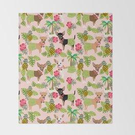 Chihuahua hawaii hula tropical island pineapple dog breed chihuahuas pet pattern Throw Blanket
