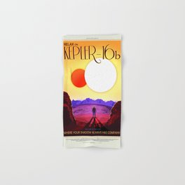 NASA Space Travel Retro Poster Kepler- 16B Hand & Bath Towel