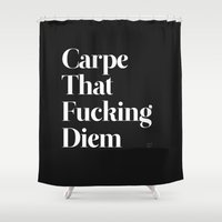 black Shower Curtains featuring Carpe by WRDBNR
