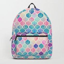 Rainbow Pastel Watercolor Moroccan Pattern Backpack