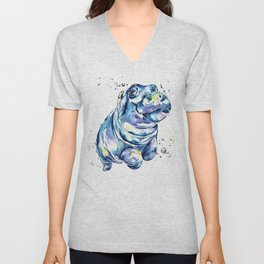 Hippo Colorful Watercolor Hippo Painting - Grace Unisex V-Neck