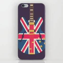 Union Jack Flag Guitar - Black iPhone Skin