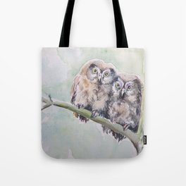 TWO CUTE OWLS Wildlife birds in the forest Watercolor painting Tote Bag