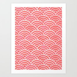 Japanese Seigaiha Wave Pattern – Coral Art Print