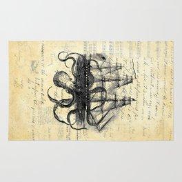 Kraken Octopus Attacking Ship Multi Collage Background Rug