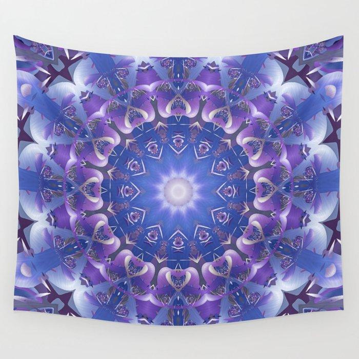 Deep Blue and Purple Fractal Mandala Wall Tapestry