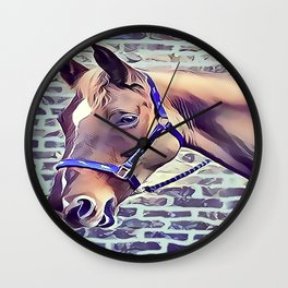Brown Horse with Harness Wall Clock