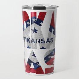 Arkansas Typographic Flag Map Art Travel Mug