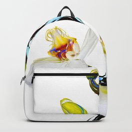 Two orchids and five buds Backpack