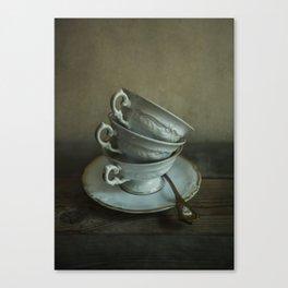 White teacups set Canvas Print