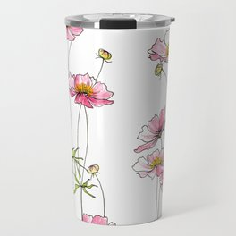Pink Cosmos Flowers Travel Mug