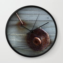 Rusty Nail, Washer and Screw in Wood Wall Clock